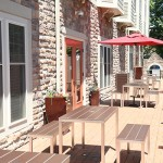 Side patio with  outdoor seating